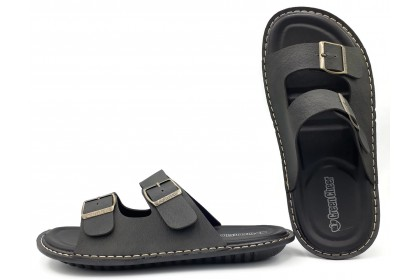 Men Adjustable Double Strap Sandals Stitched Upper Cushioned Insole