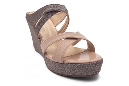 Women Graceful Glitter Non-Regulated Double Strap Sandals 7.5CM Heightening Shoes